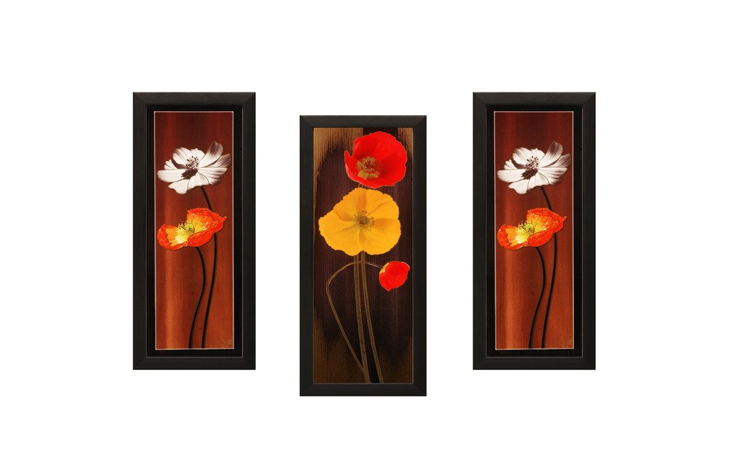 SAF Flower Textured UV Print Painting (Set of 3, 18 cm x 2 cm x 40 cm)