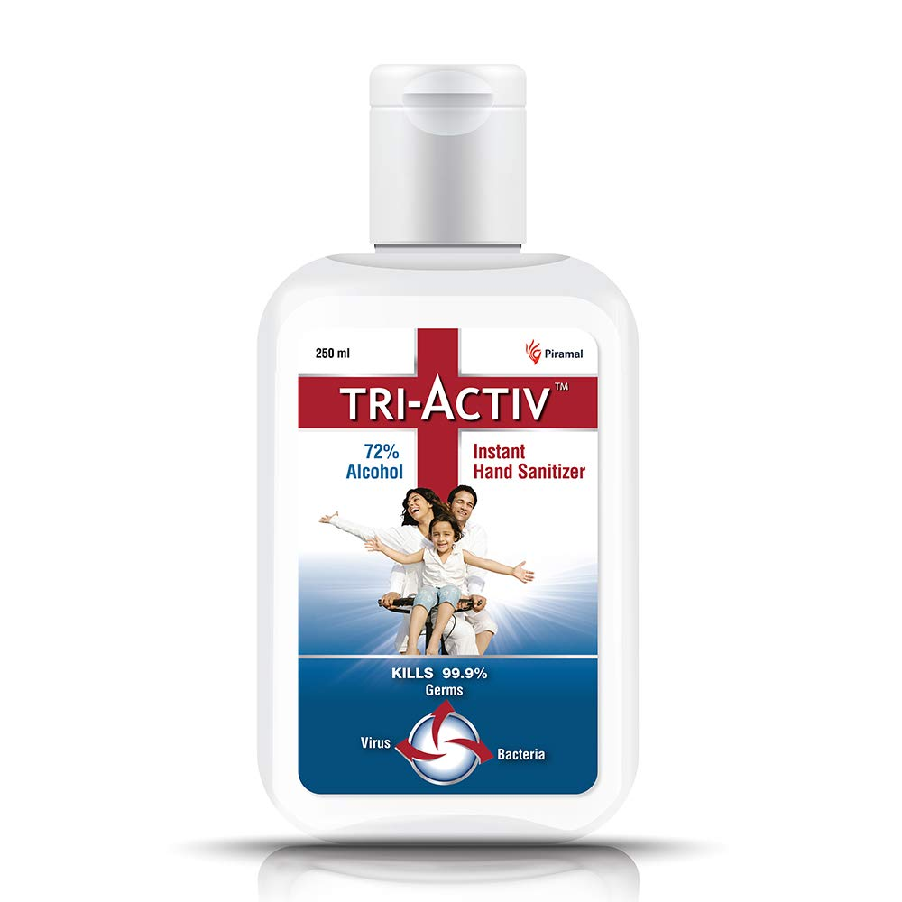 Tri-Activ 72% Alcohol Based Instant Hand Sanitizer - 250 ml (Pack of 2)