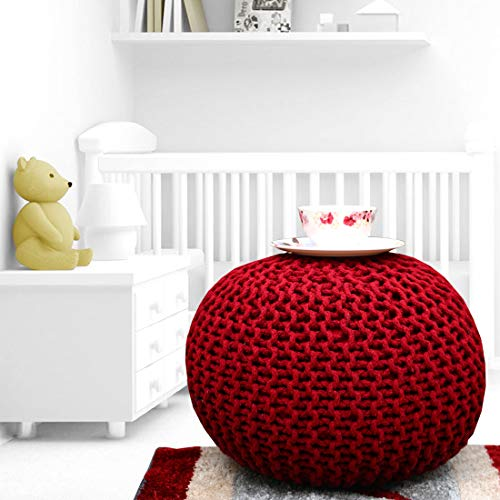 YUVEEN 100% Hand Knitted Cotton Dori Pouf Soft Comfort Ottoman Pouffe Foot Stool for Home Furnishing (Maroon)