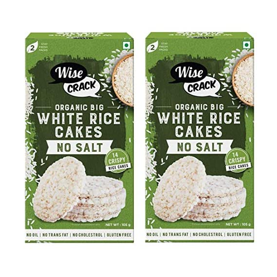 Wise Crack No Salt, Unsalted Organic Big White Rice Cake Whole Grain Puffed Cracker, Crispy Healthy Snacks (210 gm), Pack of 2