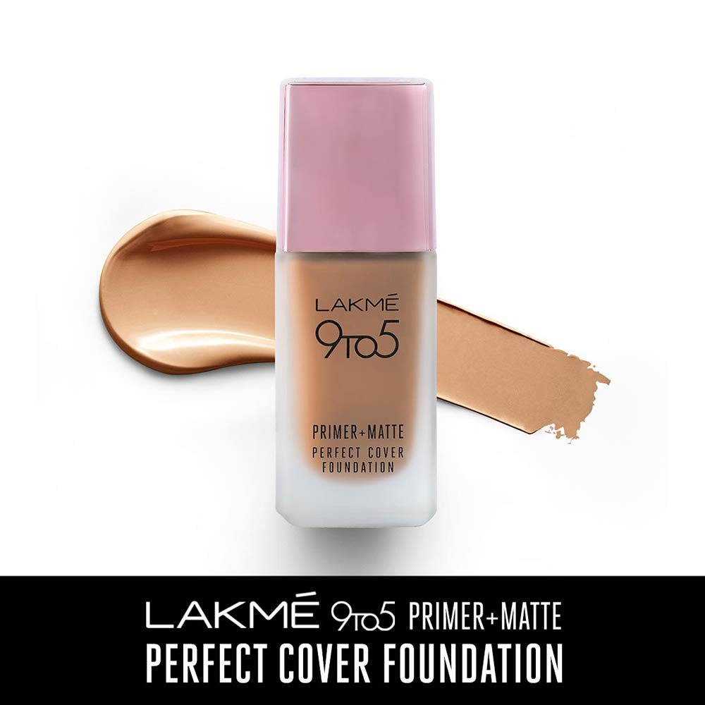[Min 2 qty] Lakme 9To5 Primer + Matte Perfect Cover Foundation, C300 Cool Cinnamon, 25 ml