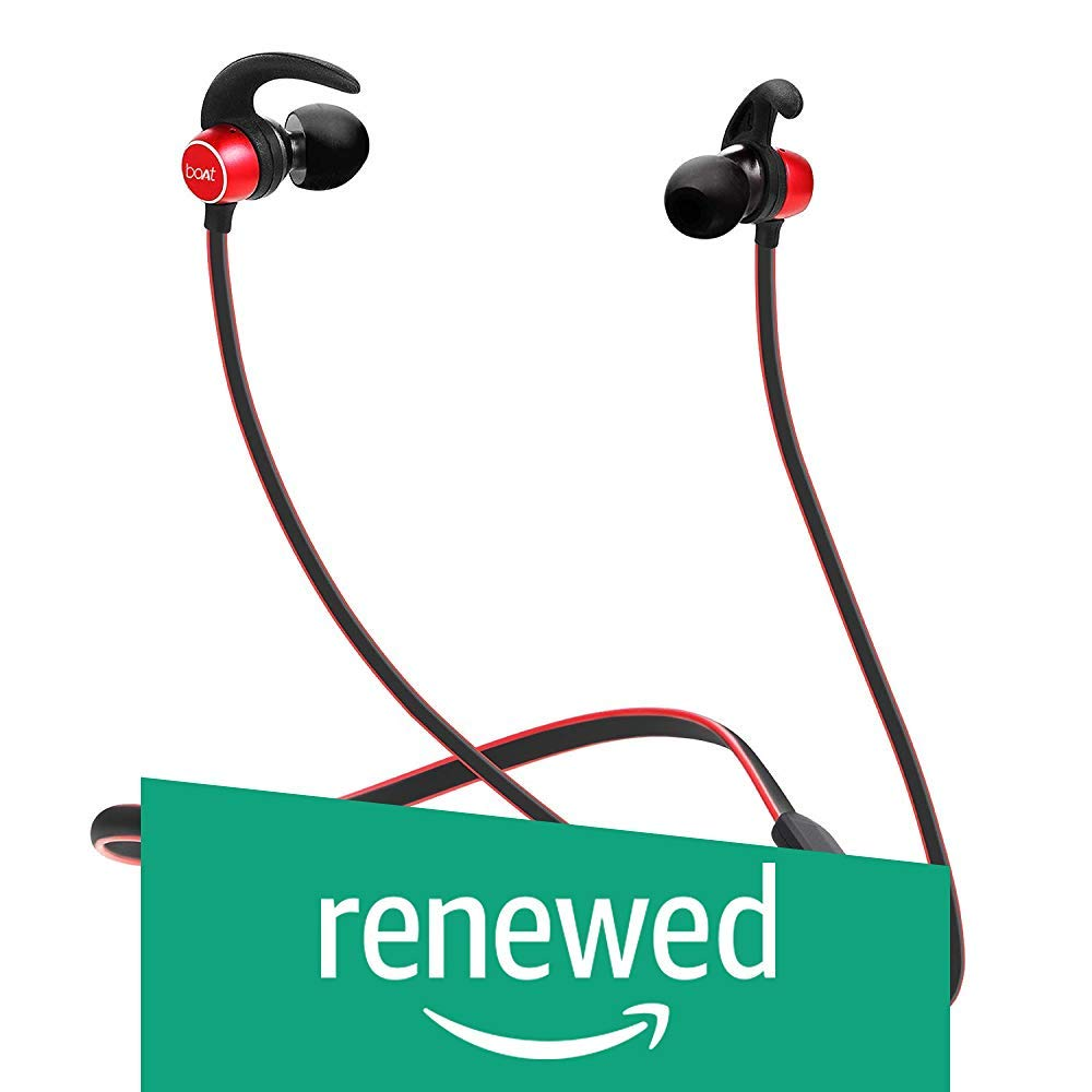 (Renewed) boAt Rockerz 255 Sports Bluetooth Wireless Earphone with Immersive Stereo Sound and Hands Free Mic (Raging Red)