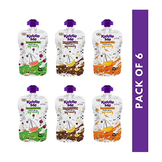 Kiddle Me Squeezy Trial Pack -120 g x 6 Packs (Mixed Flavors)