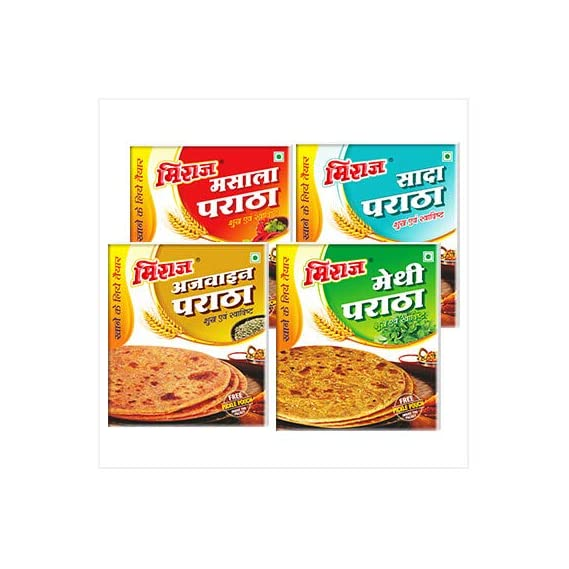 Miraj Paratha Combo Pack 4 Flavors in 4 Different Packs