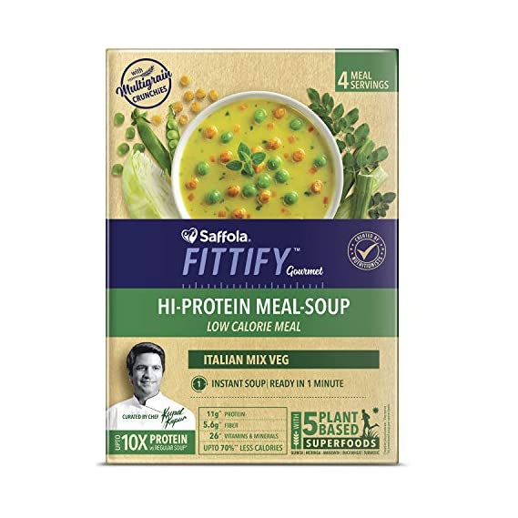 Saffola FITTIFY Gourmet Hi Protein Meal-Soup - 212 g (Italian Mixed Vegetables, 4 Servings)