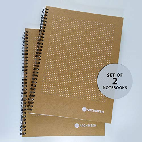 Archmesh – Dot Grid Notebook, A4 Dot Pattern 5mm, Kraft Cover, A4, 8.5x11inches (Pack Of 2)