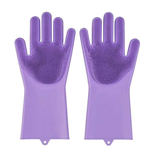 Gadget Walker Silicone Kitchen Magic Gloves for Dishwashing Rubber Dish Washing with Brush Cleaning Scrubber – 1 Pair (Purple)
