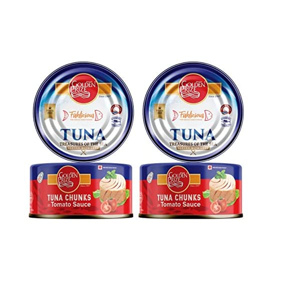Golden Prize Tuna Chunk in Tomato Sauce 185Gms Each - Pack of 2 Units