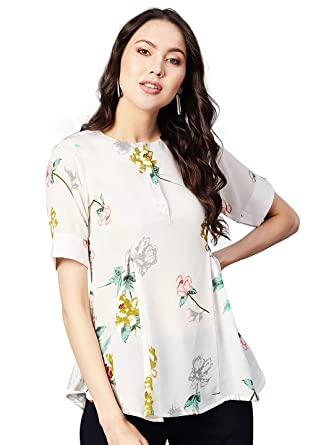 Ives Casual Wear White Printed Top For Women Tops