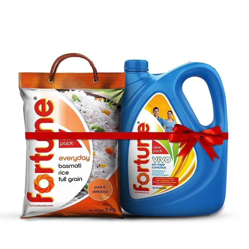 [Pantry] Fortune Vivo Pro Sugar Oil 5L Jar + Fortune Everyday Full Grain basmati Rice 5 Kg