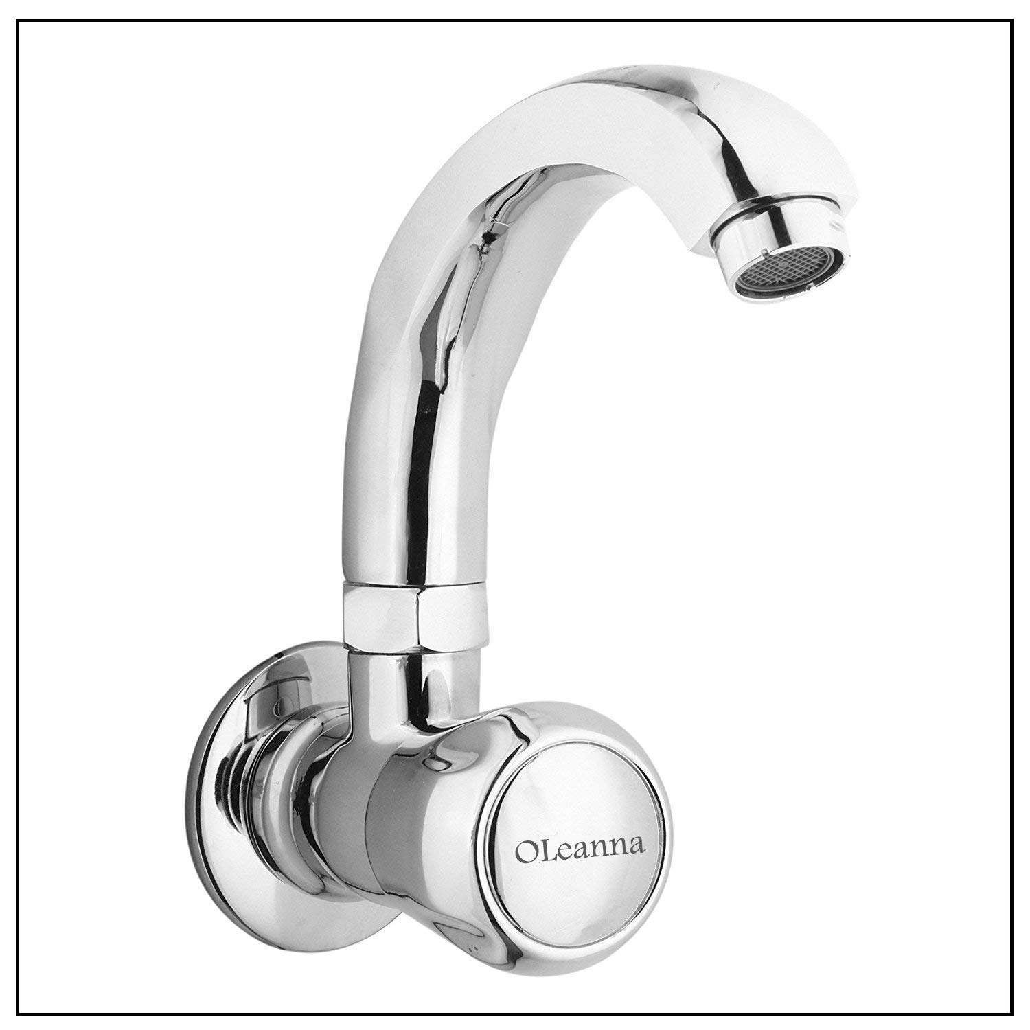Oleanna Conti-sinkcock Spark Brass Sink Tap with Swivel Casted Spout Wall Mounted Model (Silver, Chrome Finish)
