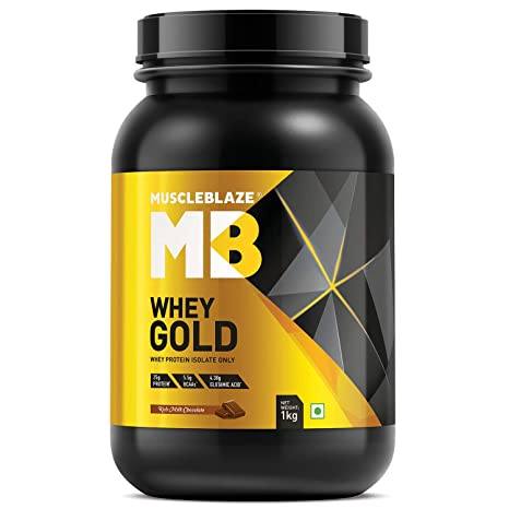 MuscleBlaze Whey Gold 100% Whey Protein Isolate with Digezyme  Rich Milk Chocolate, 1 kg / 2.2 lb  Whey Proteins