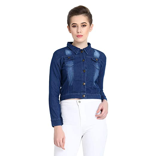 C.Cozami Full Sleeves Solid Women's Denim Jacket Jackets