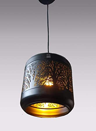 GreyWings Metal Laser Cutted Hanging Light Ceiling Pendant Lamp with Filament Bulb  Black