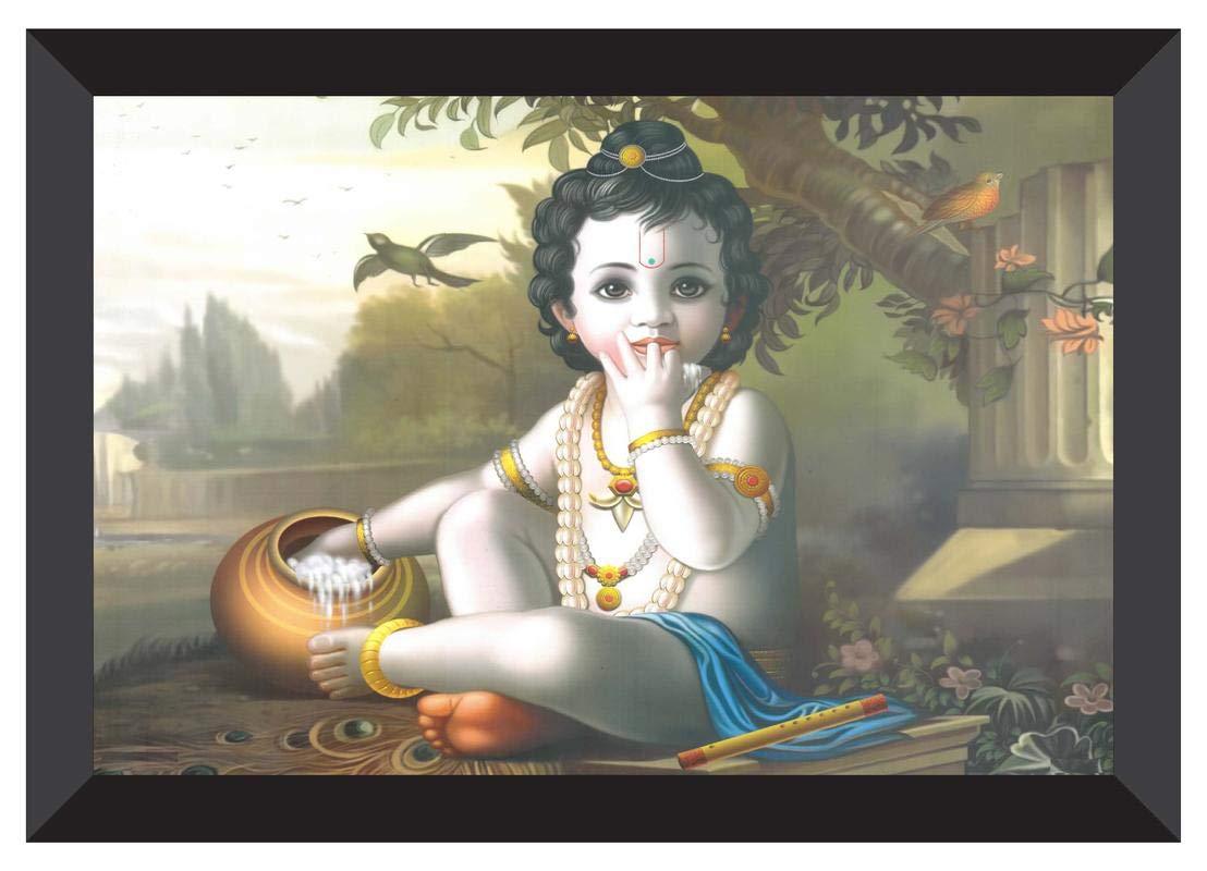 SAF 'Kanha' UV Teatured Digital Reprint Framed Painting (11 inch X 14 inch)