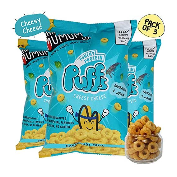 The Mumum Co. The Mumum Co Protein Puffs | Cheesy Cheese | Healthy Snacks for Kids | 180g (Pack of 3)