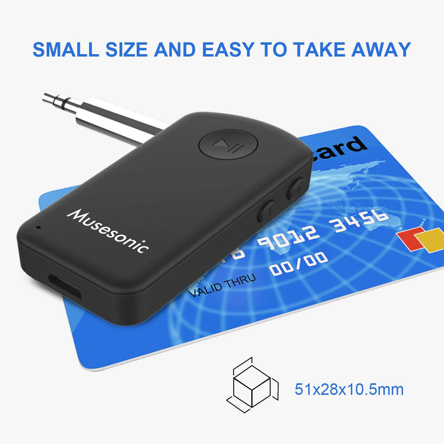 Musesonic Bluetooth V5.0 Audio Receiver Car Kit Qualcomm Chipset Wireless Adapter with Mic 3.5mm Aux Stereo Output for Music System (Black)