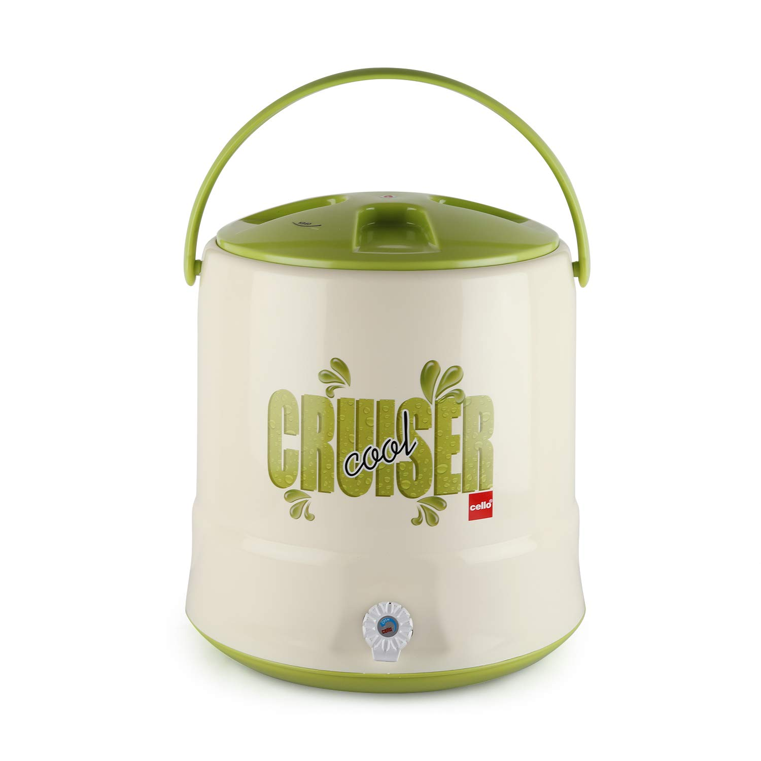 Cello Cruiser Plastic Insulated Water Jug, 20 litres, Green