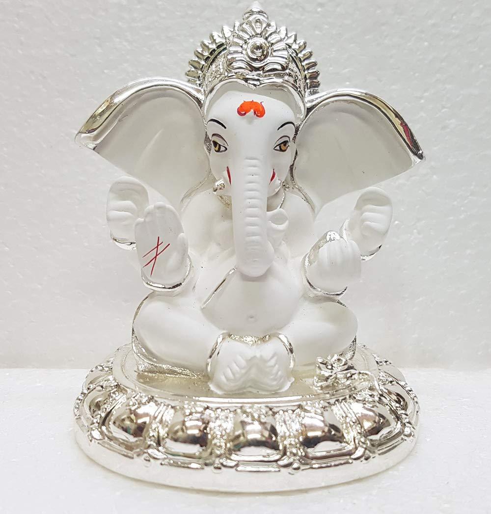 Gold Art India Ceramic White Terracotta Ganesha Idol 8x7x7cm