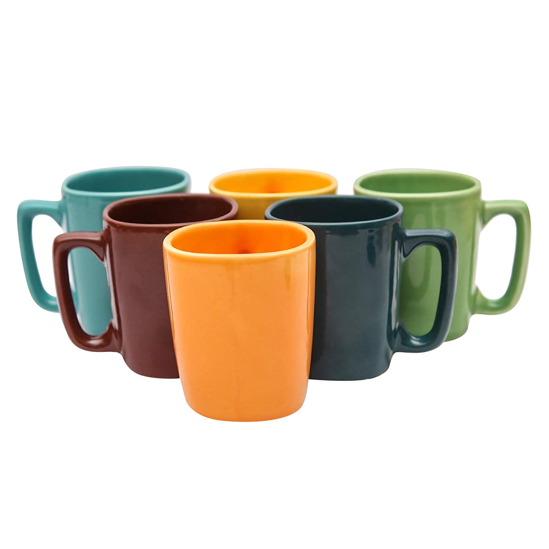 Saavre Ares Series Ceramic Coffee Mugs - 6 Pieces, Multi-Colour, 250 ML (Assorted Colour)