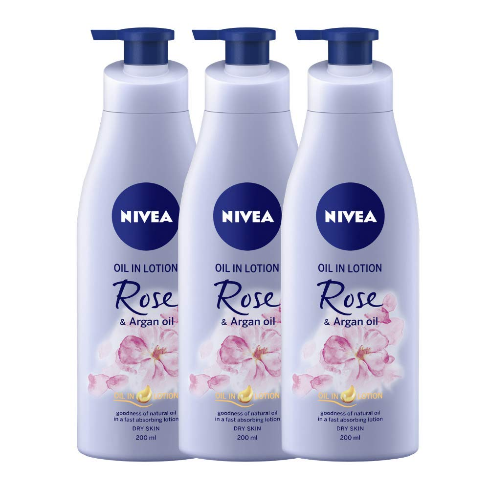 NIVEA Oil-In Lotion Rose And Argan Oil, 200ml (Pack of 3)