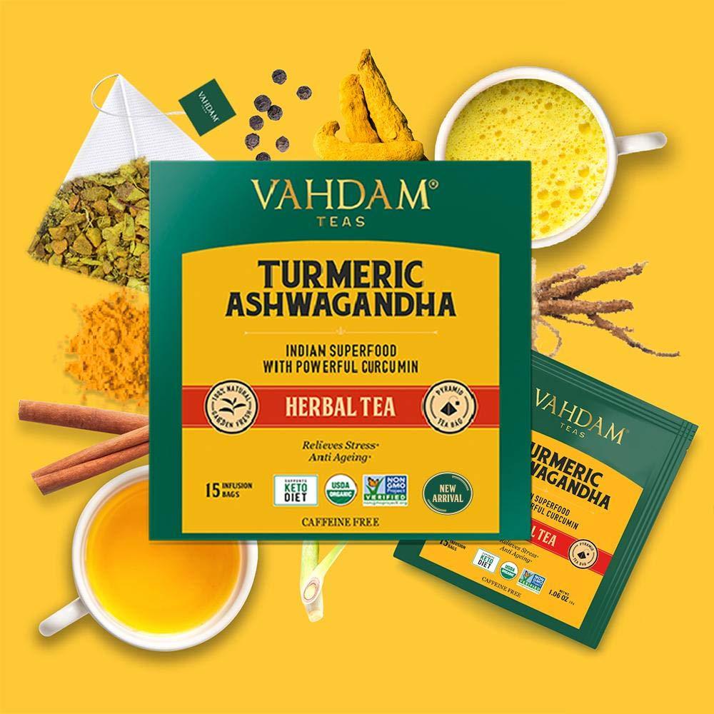 [Pantry] Vahdam Teas Turmeric Ashwagandha Herbal Tea Bags- 15 Tea Bags