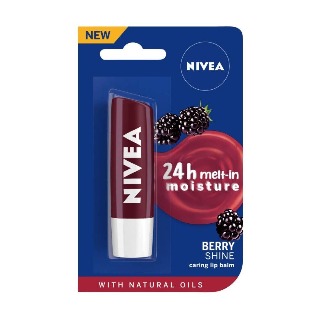 NIVEA Lip Balm, Fruity Blackberry Shine,