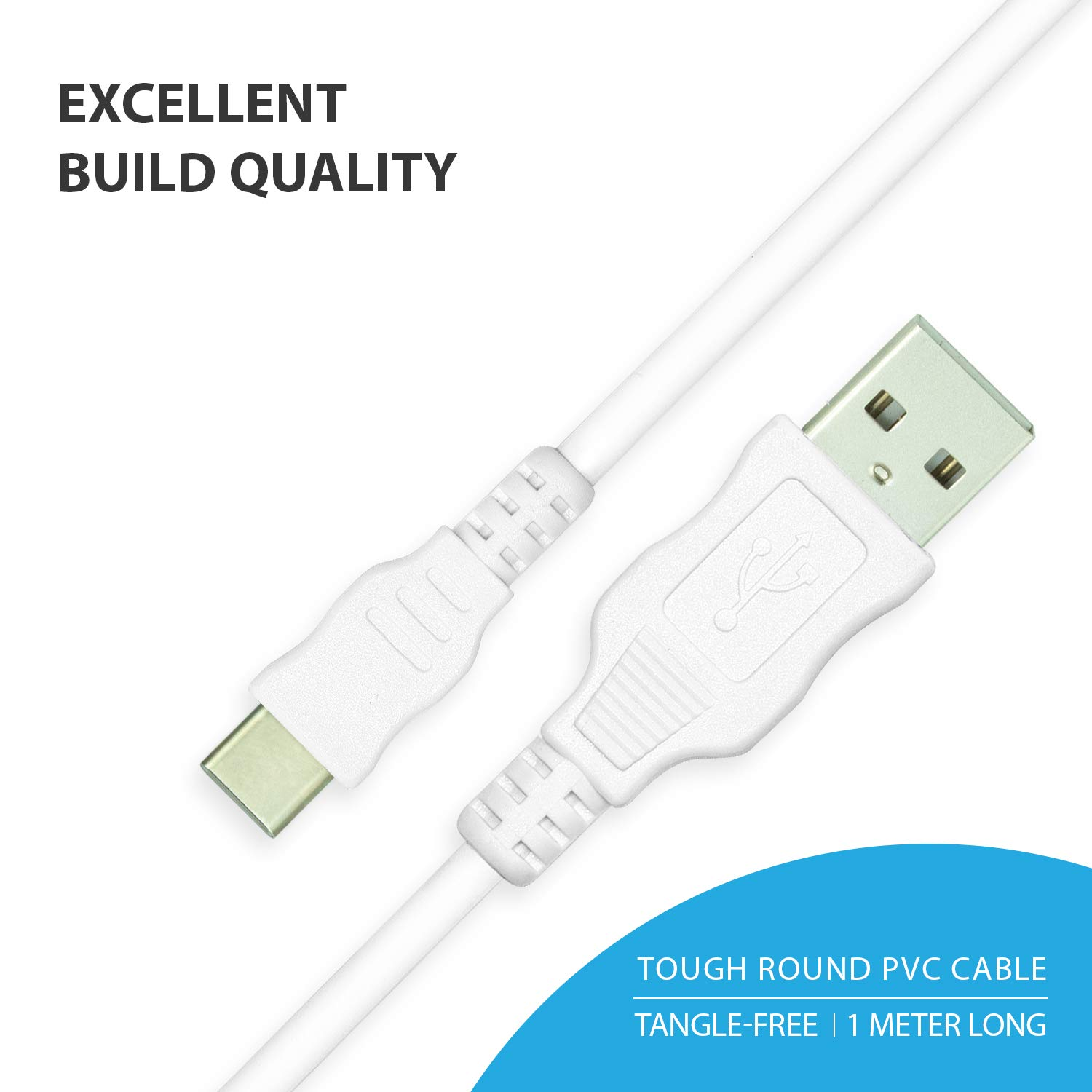 Blaupunkt Highly Durable Type C to USB 2.0 Round Cable with High Speed Charging, Quick Data Sync and PVC Connectors for All USB Powered Devices (White)