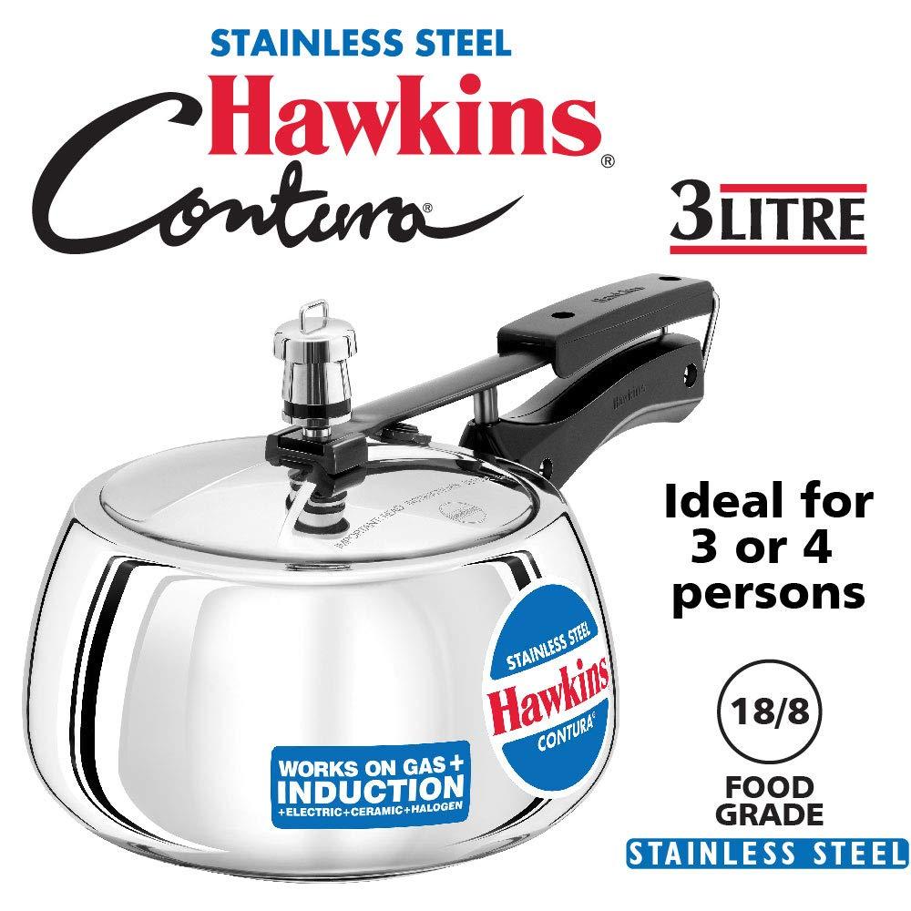 Hawkins Stainless Steel Contura Pressure Cooker, 3 Litres