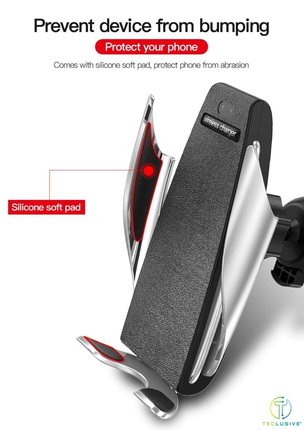 FOONEE Automatic Clamping Wireless Car Mount 10W Fast Charger Holder for iPhone XR XS Max X 8 8 Plus, Samsung, All Infrared Motion Sensor Automatic Open Clamp