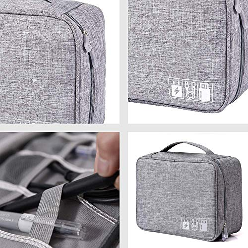 DENSITY COLLECTION Travel Electronics Accessories Organizer Bag- Waterproof Cable Organizer Bag with 3 Removable Dividers, Padded Gadget Carrying Case for Cables