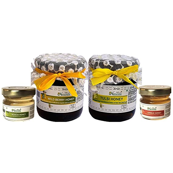 Farm Naturelle-(Pack of 2x250Gms+2x40 GMS Other Forest Raw Honey) Forest-Vana Tulsi Flower Honey and Wild Berry (Sidr) Forest Flower Honey Combo (High Medicinal Value and Aphrodisiac Properties)
