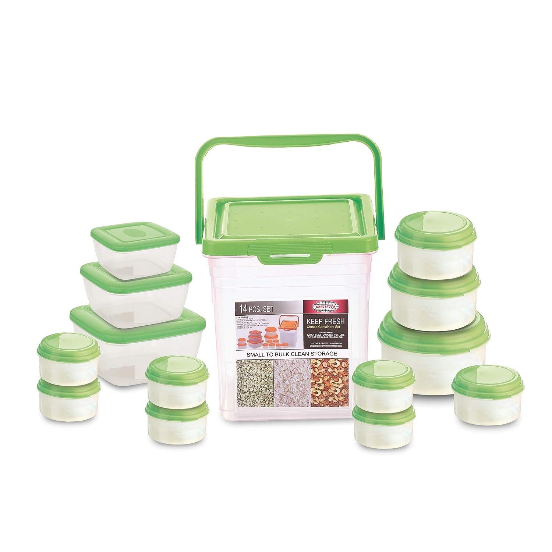 Asian Plastowares Plastic Keep Fresh Storage Container, Set of 14, Green