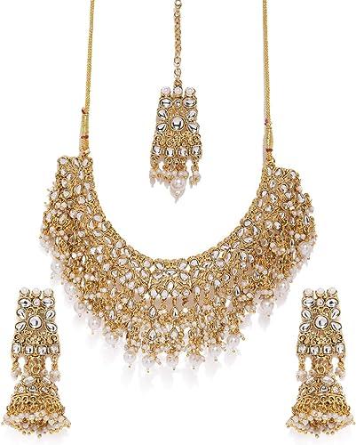 Gold Tone Kundan Pearls Bridal Choker Necklace Set For Women ZPFK8454