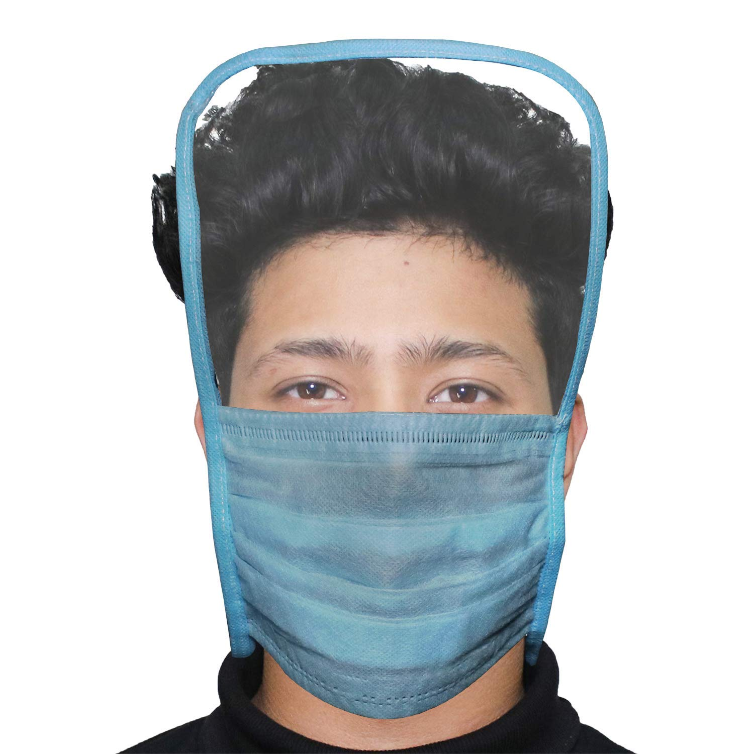 Motopack ORMFS01 Disposable 3 Ply Face Mask with Eye Shield Anti Spittle Splash Personal Protection for Medical & Outdoor (1 PC)