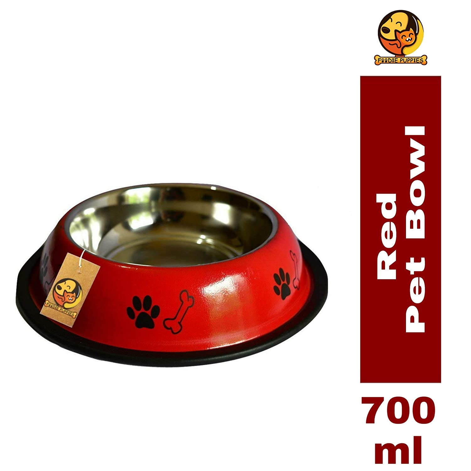 Foodie Puppies Stainless Steel Paw Bone Printed Food Water Feeding Bowl for Dogs