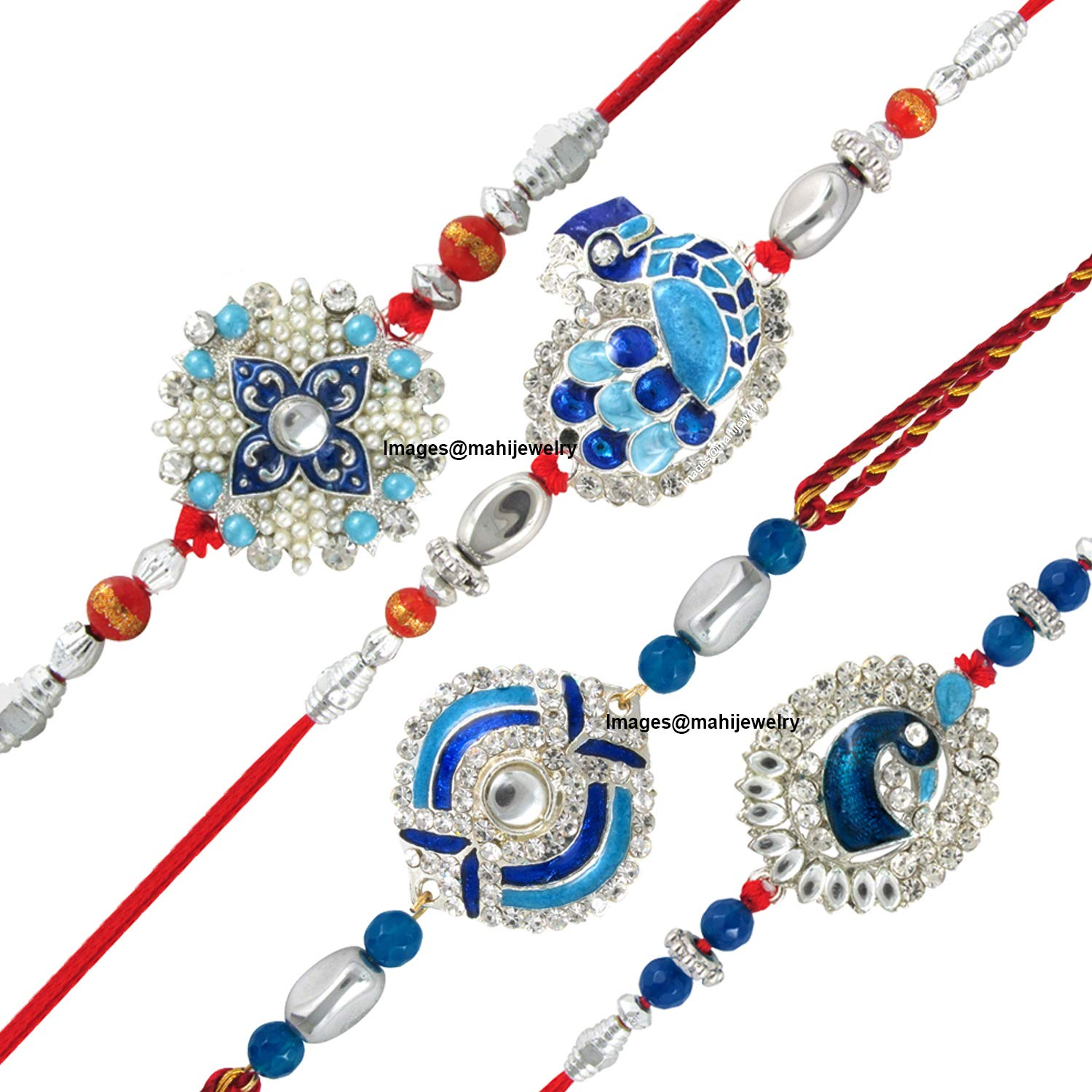 [Apply Coupon] Mahi Combo of Peacock Four Rakhis for Dearest Brothers (Bracelet) CO1104285RC