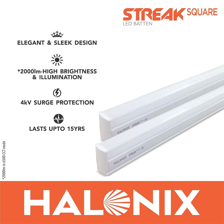 Halonix Streak Squar 20-Watt LED Batten (Pack of 2, Cool White, Square)