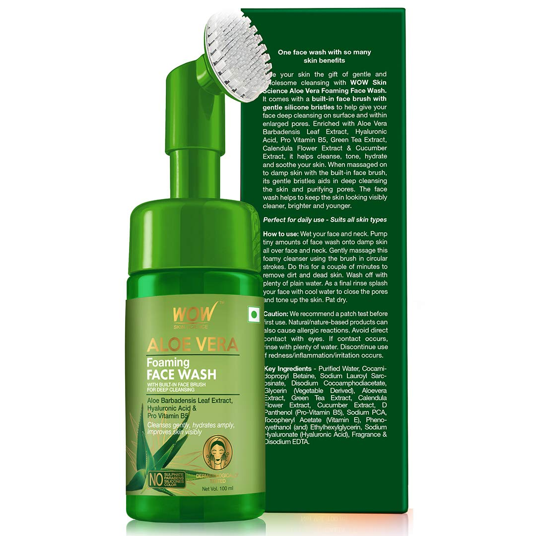WOW Skin Science Aloe Vera Foaming Face Wash With Built-In Face Brush For Deep Cleansing - No Parabens, Sulphate, Silicones & Color, 100 ml