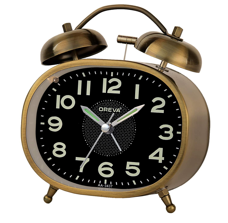 OREVA Twin Bell Metal Body Alarm Table Clock with Night Glow and LED Light (10 cm x 5 cm x 12 cm, AA3437) (Green)