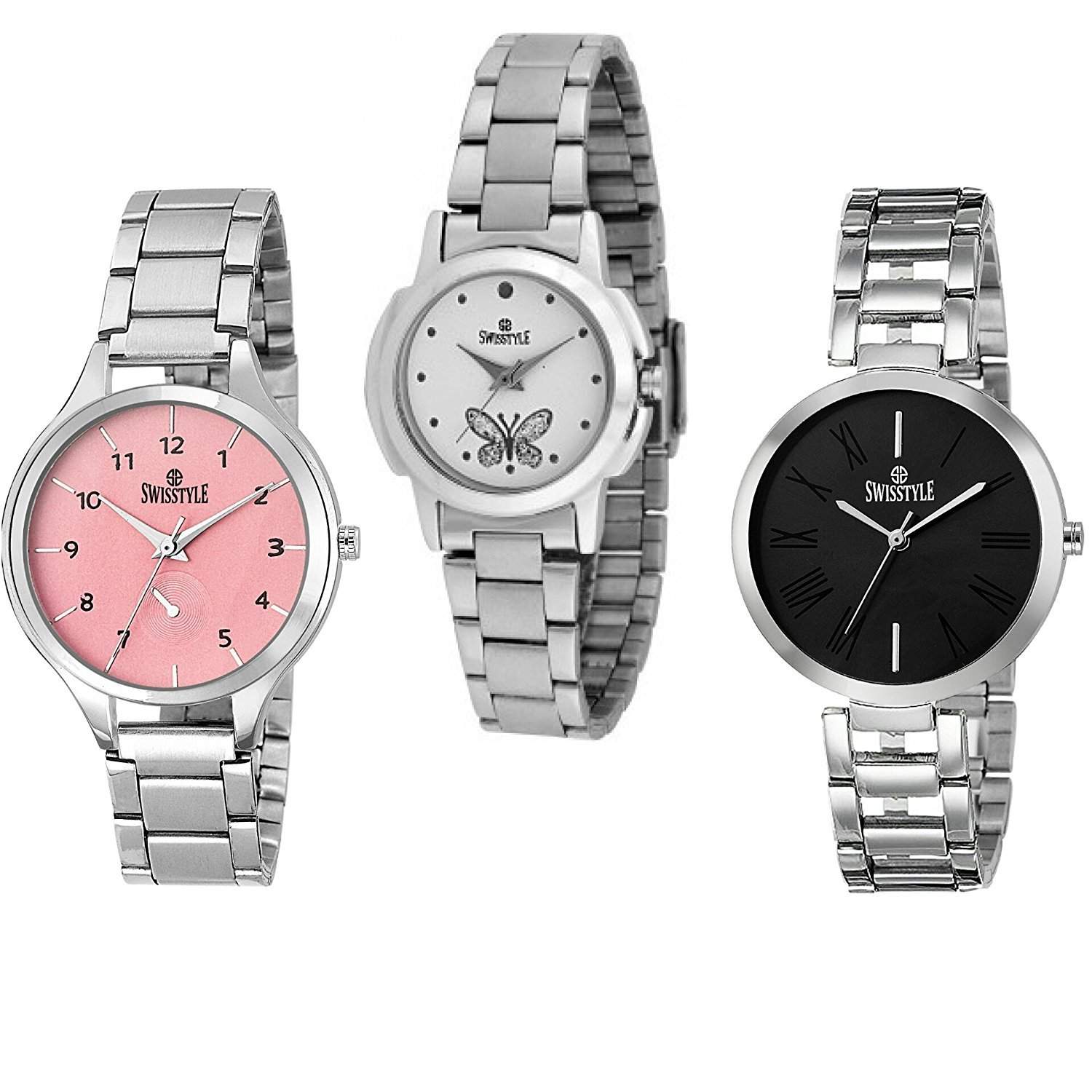 SWISSTYLE Analogue Women's Watch (White, Black & Pink Dial Silver Colored Strap) (Pack of 3)
