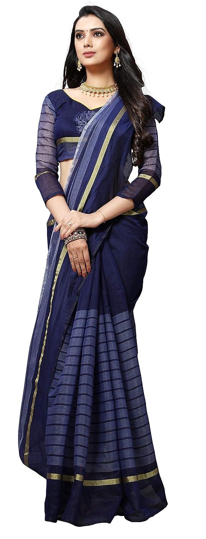 EthnicJunction women's Cotton Linen Saree With Blouse Piece