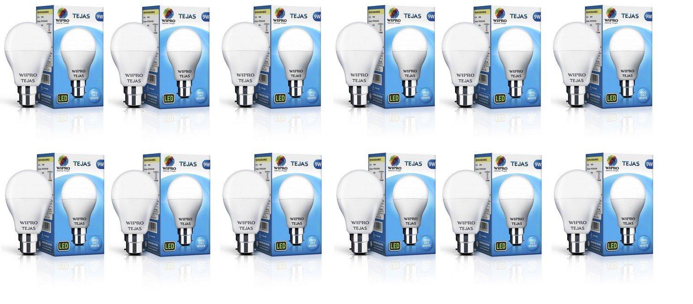 Wipro Tejas Base B22 9-Watt LED Bulb (Pack of 12, Cool Day Light) (Cool Day Light)