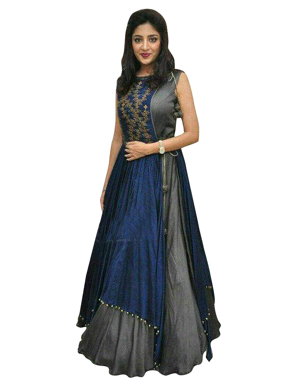 [Apply coupon] Pop Mantra Women's georgette anarkali Salwar Suit Set (70778D-3_ Blue_ Xxx-Large)