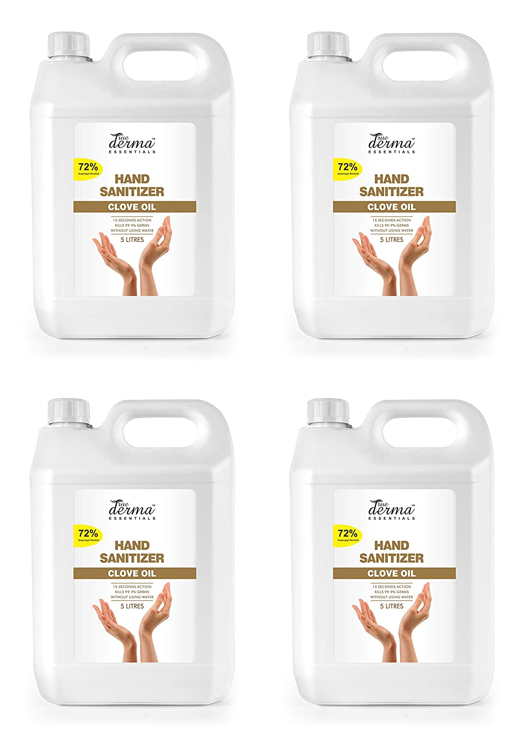 [Apply coupon] True Derma Essentials - 72% Isopropyl Alcohol Hand Sanitizer (Instant Dry, Rinse Free, Non-sticky) (Pack of 4)