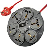 ELV Surge Protector and Spike Guard, 10 AMP, 6 Socket Extension Board Cord, 6 Feet Wire, Overload Protection Master Switch with LED, MOV with Fire Res