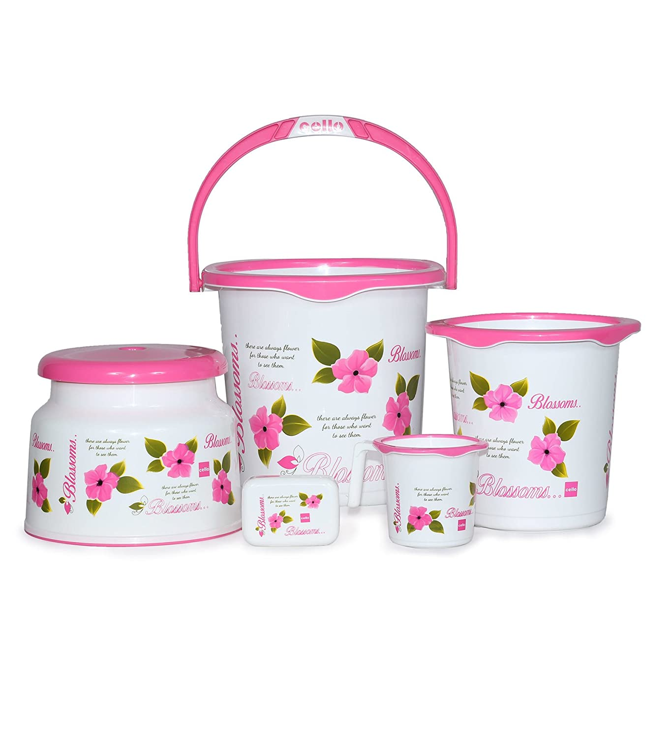 Cello Blossom 5 Piece Plastic Bath Set, Big, Pink