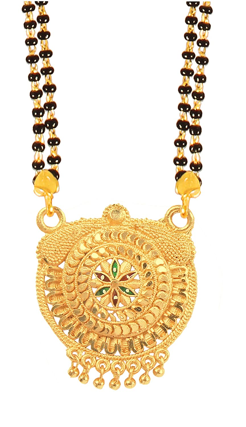 RADHEKRISHNA golden color alloy material beautiful long fold over head 24 inch mangalsutra with free golden small earrings