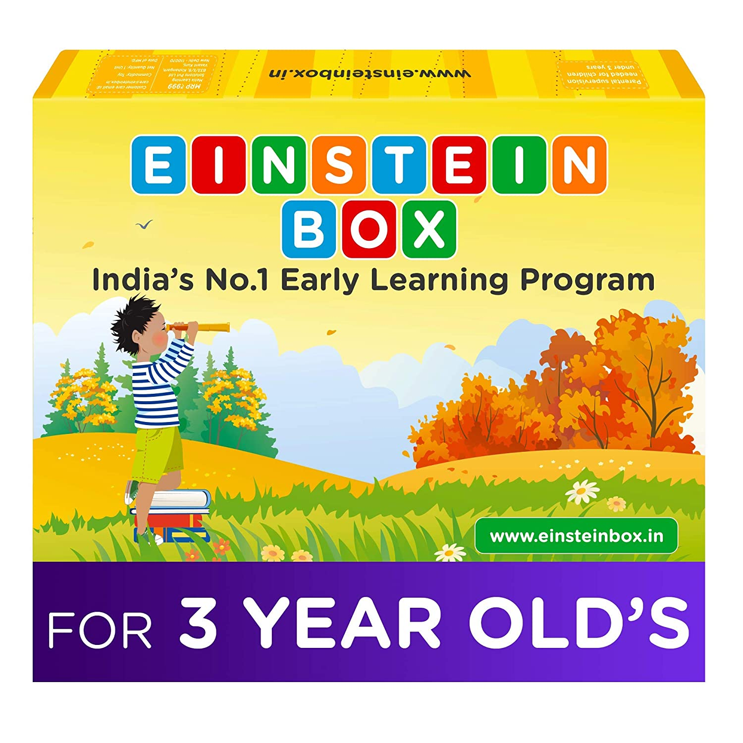 Einstein Box for 3 Year Old Baby Boys and Girls, Learning and Educational Gift Pack of Toys, Games and Books, Apron