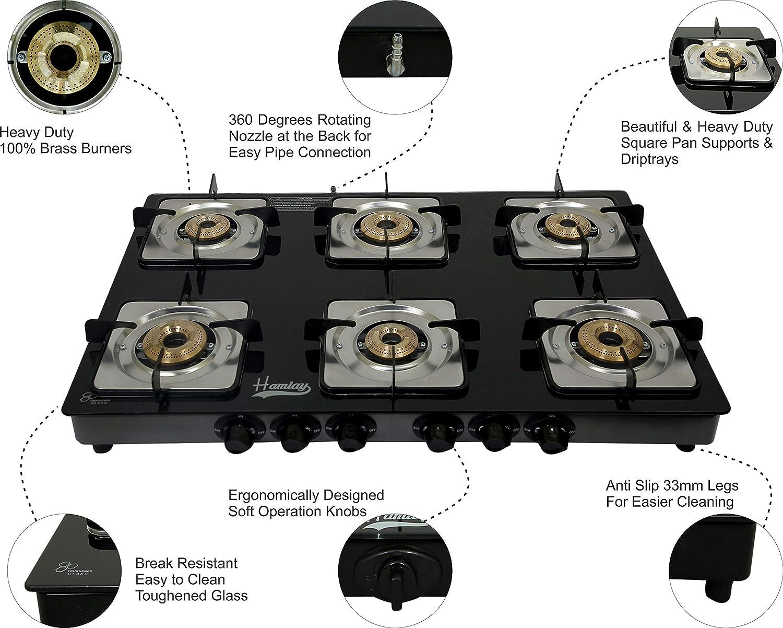 Hamlay Toughened Glass Burner Manual Ignition Gas Stove (6 Burners LPG Compatible Black)